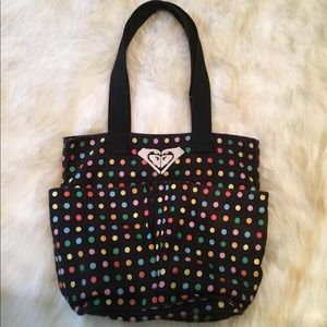 Roxy black multi color poka dots tote bags